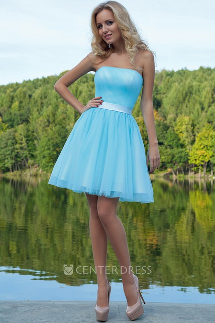 A Line Sleeveless Strapless Ruched Short Mini Tulle Prom Dress With Sash