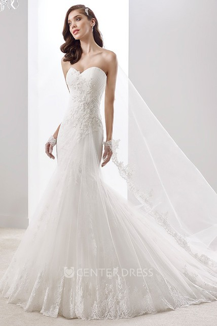 Scooped-Neck Mermaid Bridal Gown With Cap Sleeves And Illusive Lace Panel