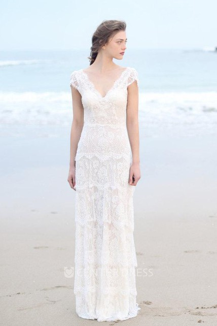 Plunged Sheath Cap-Sleeve Tired Boho Style Wedding Dress And Deep-V ...