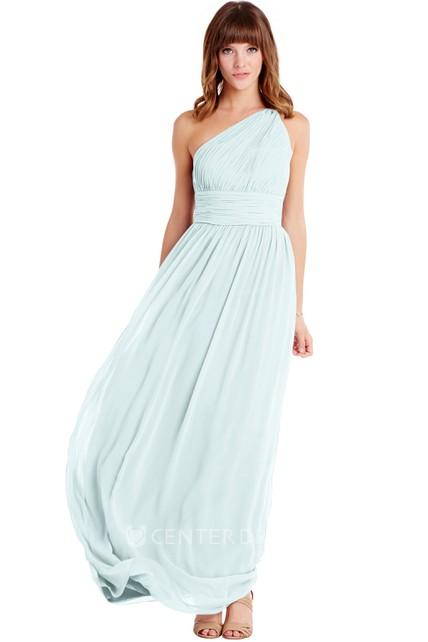 27e11206bc5 Floor-Length One-Shoulder Ruched Sleeveless Chiffon Muti-Color Convertible  Bridesmaid Dress - UCenter Dress