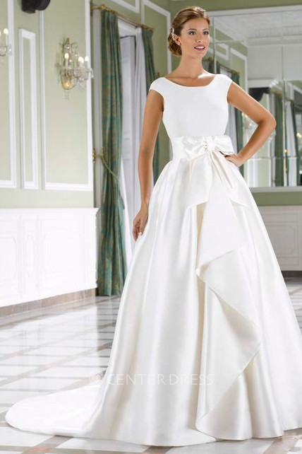 a7eb1c2a0e7 A-Line Draped Scoop-Neck Short-Sleeve Satin Wedding Dress With Bow -  UCenter Dress