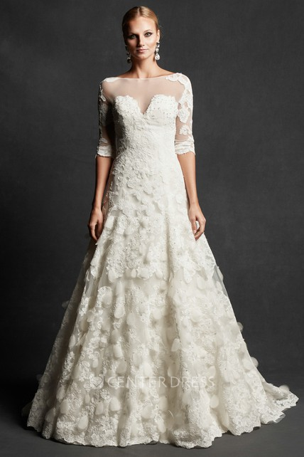 447e0f77777e A-Line Jewel-Neck Half-Sleeve Lace Wedding Dress With Illusion - UCenter  Dress