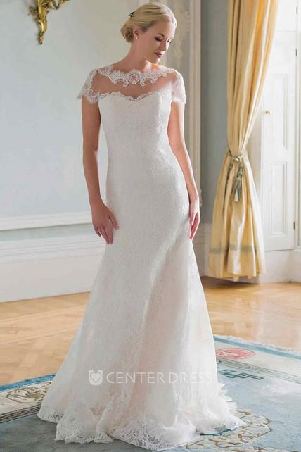 4c34e015d9f3 Sheath Cap-Sleeve Jewel-Neck Lace Wedding Dress With Illusion - UCenter  Dress