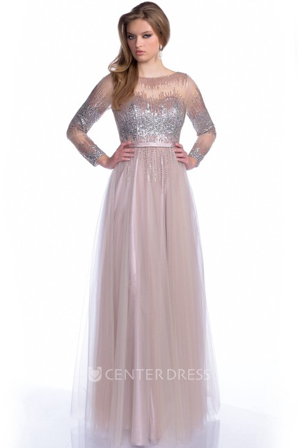 f0c748bf0157 Bateau Neck Long Sleeve A-Line Tulle Prom Dress With Sequined Bodice -  UCenter Dress