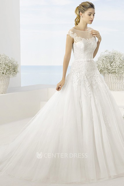 4b4528821a85 Ball Gown Scoop-Neck Short-Sleeve Tulle Wedding Dress With Illusion - UCenter  Dress