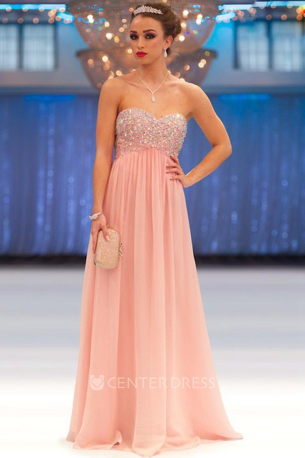 A-Line Beaded Sweetheart Empire Sleeveless Long Chiffon Prom Dress With  Pleats - UCenter Dress ef4dd4c37