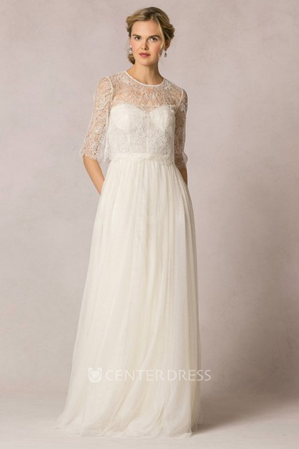 Sheath Lace Half-Sleeve Long Scoop-Neck Tulle Wedding Dress