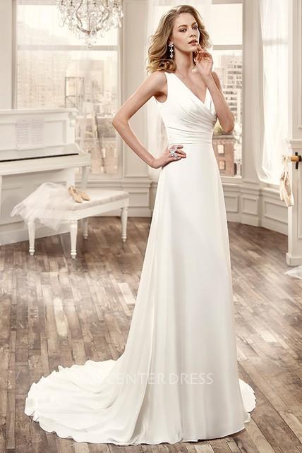 4ddcbb6ca44 Cap-Sleeve Low-V Neckline Chiffon Wedding Dress With Brush Train - UCenter  Dress