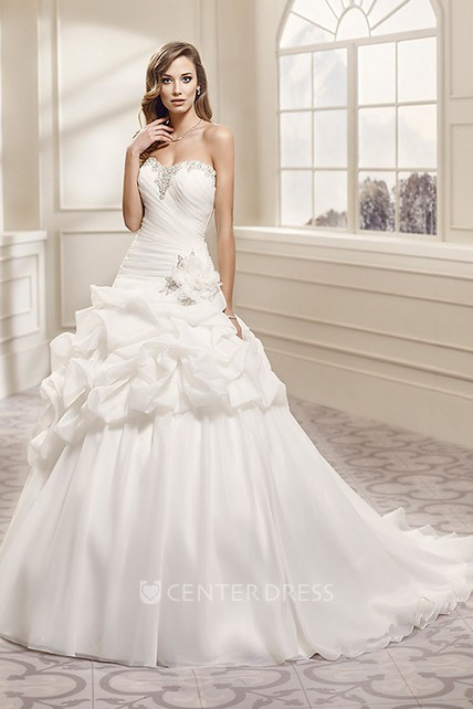 Ball Gown Sweetheart Long Organza Wedding Dress With Pick Up And ...
