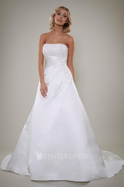 A Line Sleeveless Strapless Floor Length Appliqued Satin Wedding