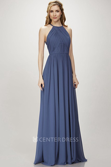 A-Line Scoop Maxi Pleated Sleeveless Chiffon Bridesmaid Dress With Keyhole Back