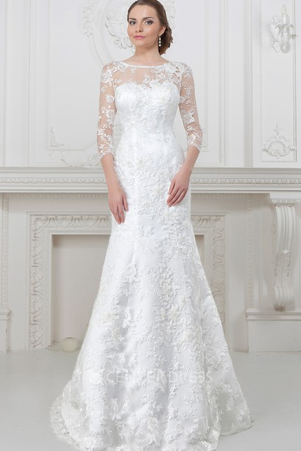 169b0890f86c8 A-Line 3-4-Sleeve Scoop-Neck Lace Wedding Dress With Illusion - UCenter  Dress
