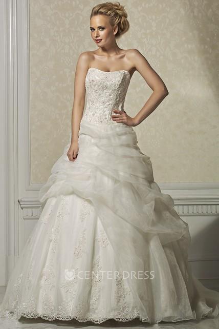 Ball Gown Strapless Floor-Length Appliqued Sleeveless ...