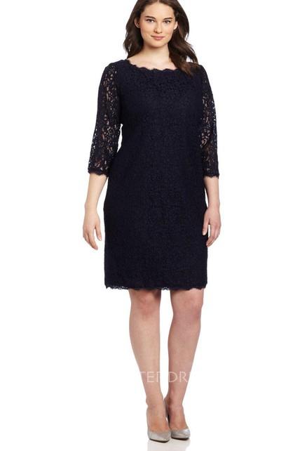 Long Sleeve Knee Length Lace Short Dress With Long Center Zipper