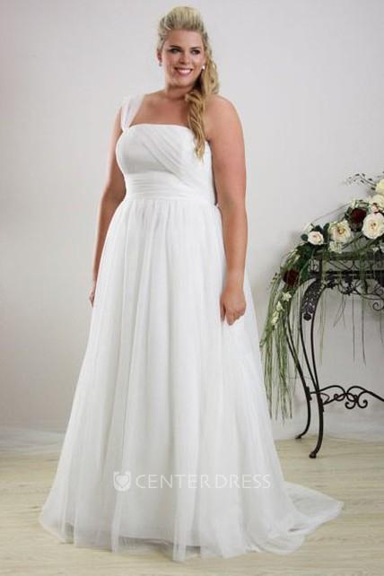A-Line Sleeveless One-Shoulder Chiffon Plus Size Wedding Dress With Ruching