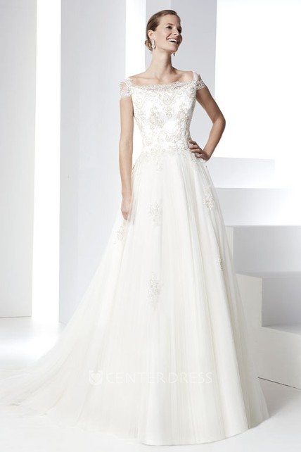 35e4765c24 A-Line Appliqued Cap Sleeve Bateau Neck Tulle Wedding Dress With Court  Train - UCenter Dress