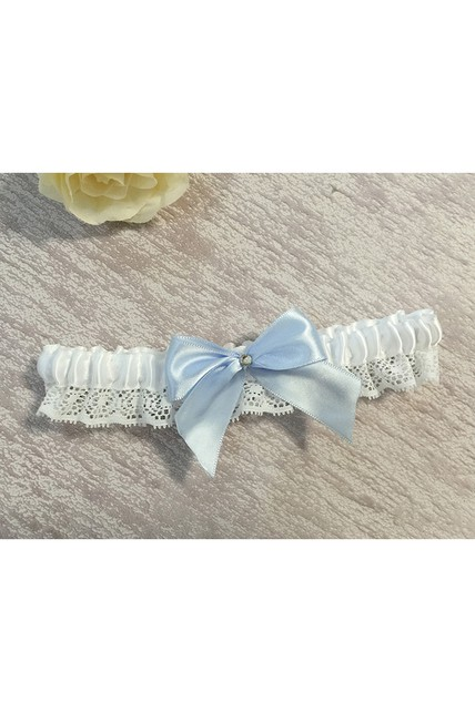 Large Light Blue Bow Lace Elastic Garter Within 16-23inch