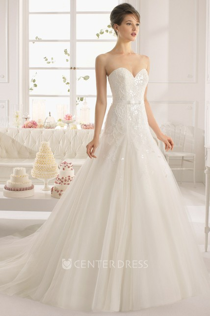 7c01ae75897 A-Line Beaded Sweetheart Tulle Wedding Dress With Sequins And Cape -  UCenter Dress
