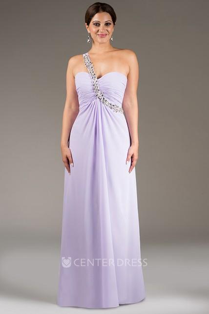7662fd0e9450 Crystal-Sash Single Strap A-Line Chiffon Long Bridesmaid Dress - UCenter  Dress