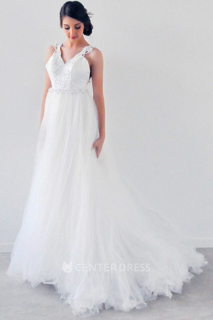 Floor-Length A-Line Sleeveless Appliqued Empire V-Neck Tulle Wedding Dress