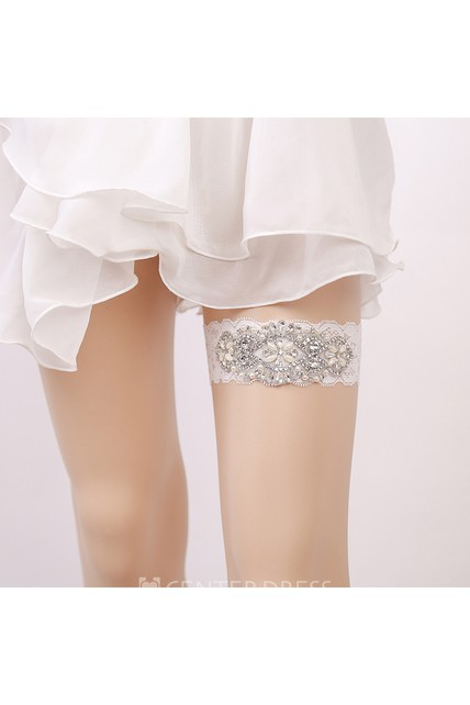 White Sexy Lace Rhinestone Princess Style Handmade Garter Grip Within 16-23inch