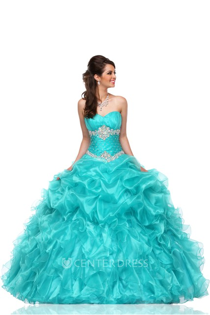 Sweetheart A-Line Sleeveless Organza Cascading Ruffles Ball Gown With Lace-Up Back