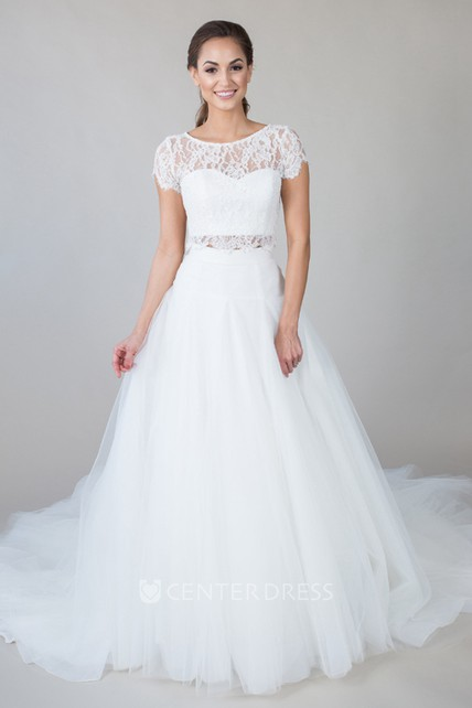 0cc1a7cd0e08 Scoop-Neck Short-Sleeve Tulle Wedding Dress With Lace And Illusion - UCenter  Dress
