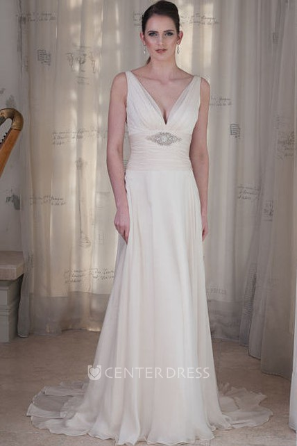 Sheath Sleeveless Ruched V Neck Floor Length Wedding Dress With Waist Jewellery
