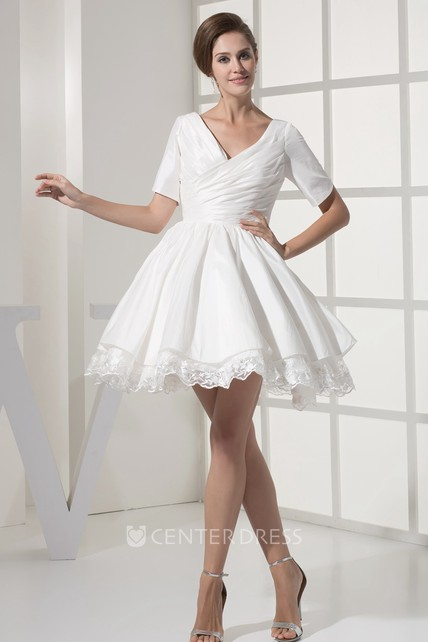 Mini-Sleeve Criss-Cross Short V-Neck Dress With Appliques