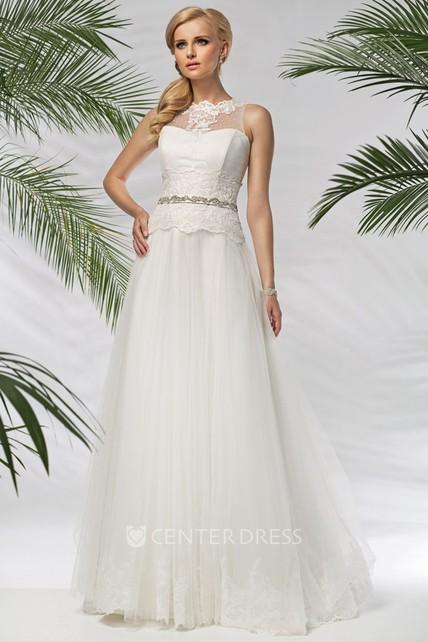 5df812e0db7 A-Line Sleeveless High-Neck Floor-Length Appliqued Tulle Satin Wedding Dress  With Waist Jewellery - UCenter Dress