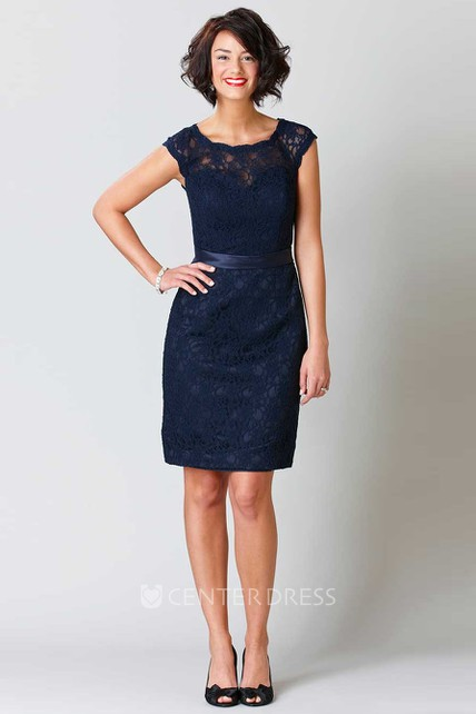 bd9ec60a992fa Pencil Sleeveless Short Scoop-Neck Lace Bridesmaid Dress With Ribbon And  Keyhole - UCenter Dress