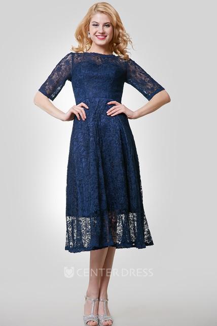 7fa928ef0b6509 Half Sleeve Lace Tea Length Dress With Jewel Neckline - UCenter Dress