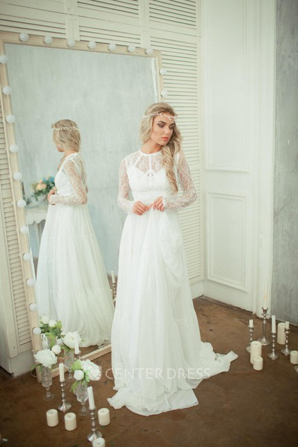 57f57c1c40d Long Sleeve Lace Bodice Chiffon Skirt A-Line Wedding Dress - UCenter Dress