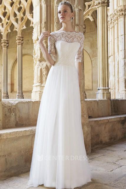 A Line Floor Length Half Sleeve Lace Bateau Neck Tulle Wedding Dress