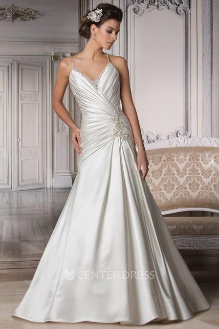 fbdde358c85 V-Neck Spaghetti Straps Wedding Dress With Criss Cross Ruching - UCenter  Dress