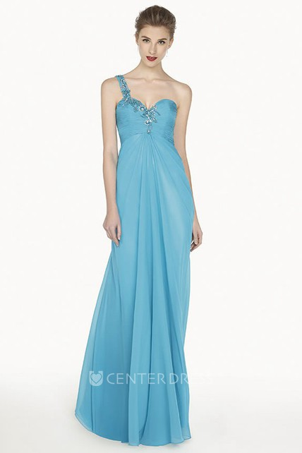 Single Crystal Strap A-Line Chiffon Long Prom Dress With Waist Keyhole