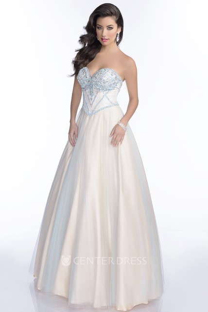 Tulle A-Line Sweetheart Prom Dress Featuring Lace-Up Back And Jeweled Bust
