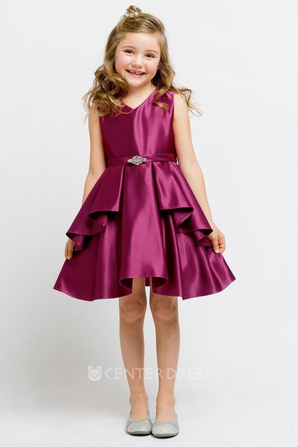 e66af1b99ab Knee-Length Split Beaded Split-Front Satin Flower Girl Dress With Sash -  UCenter Dress