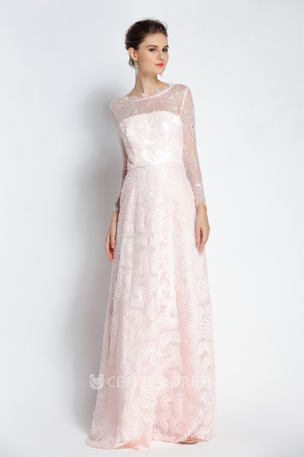 Floor-length Long Sleeve A-Line Bateau Scalloped Lace Prom Dress with Beading and Pockets