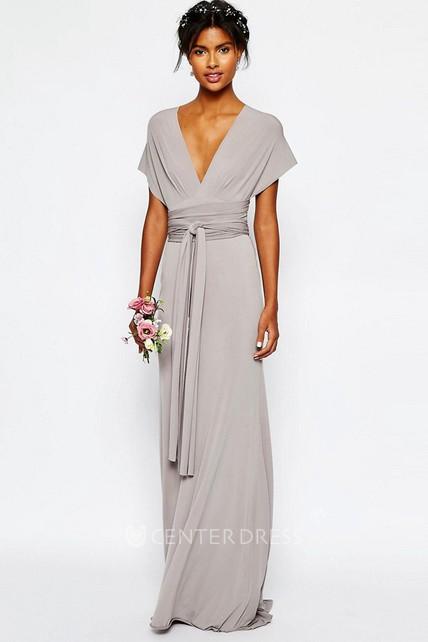 228be0e00d7 Sheath V-Neck Sash Floor-Length Short-Sleeve Chiffon Bridesmaid Dress -  UCenter Dress