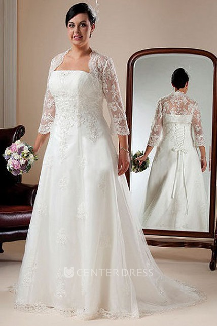 Strapless Lace Bridal Gown With Lace Up And 3-4-Sleeve Bolero