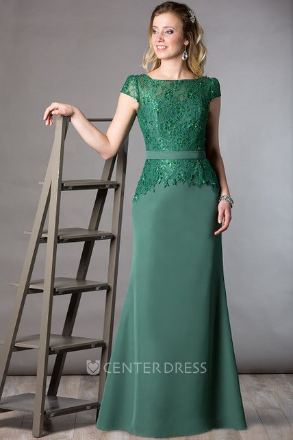 e2d70daeea33 Lace Top Cap Sleeve Sheath Long Mother Of The Bride Dress With Crystal  Details - UCenter Dress