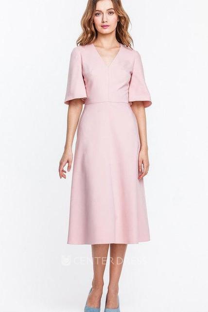fd07e4b1eed56a 2018 Trendy Bell Sleeve Tea-length Dress - UCenter Dress