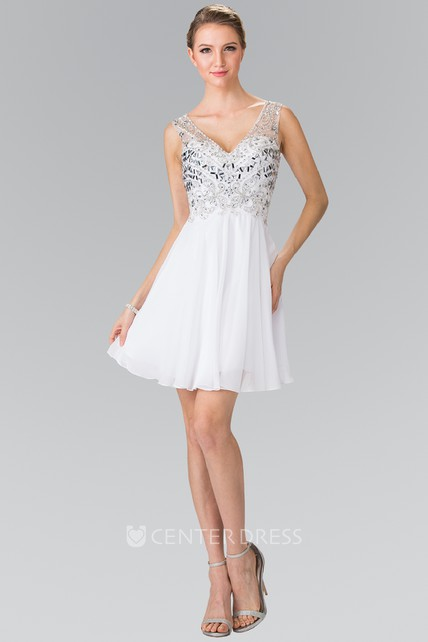 A-Line Short V-Neck Empire Chiffon Low-V Back Dress With Beading And Pleats