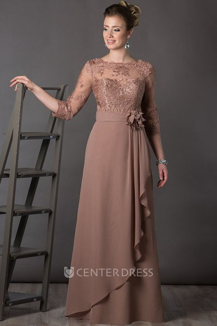 A-Line Bateau-Neck Appliqued 3-4-Sleeve Long Chiffon Mother Of The Bride Dress With Flower And Draping