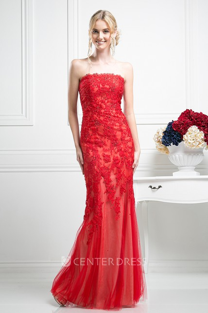 b4df9a535be Sheath Strapless Sleeveless Lace Tulle Low-V Back Dress With Appliques And  Beading - UCenter Dress