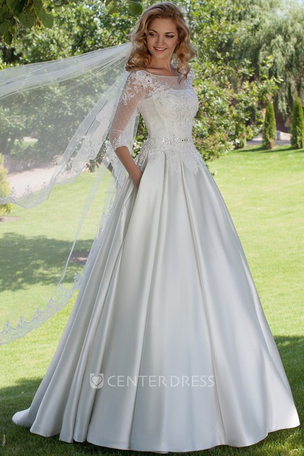 b8f35187214 Floor-Length Ball Gown Appliqued Scoop Neck 3-4 Sleeve Satin Wedding Dress  - UCenter Dress