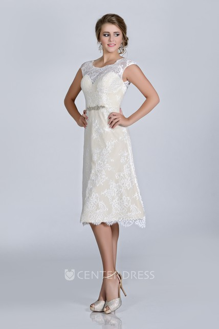 96973d939 Knee Length Lace Cap Sleeve Wedding Dress With Scoop Neckline And Crystal  Brooch - UCenter Dress