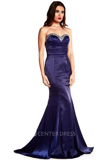 ae8f108f0ad Trumpet Beaded Sleeveless Long Sweetheart Satin Prom Dress - UCenter Dress