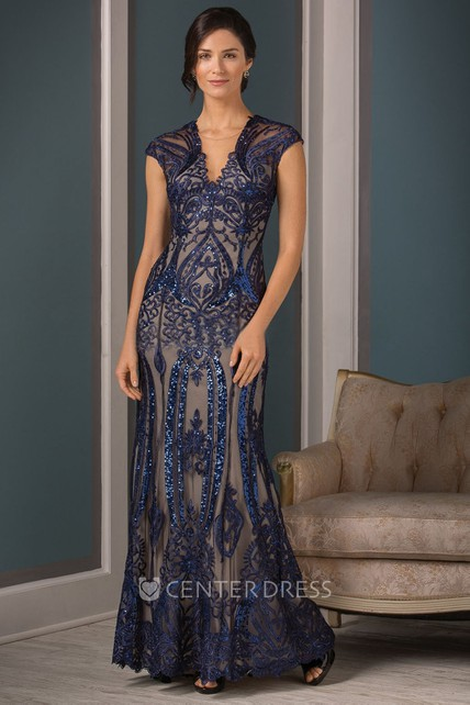 66940d532e7 Cap-Sleeved V-Neck Long Mother Of The Bride Dress With Sequins And Keyhole  Back - UCenter Dress